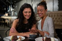 Happy friends interacting with each other. In restaurant Royalty Free Stock Photography