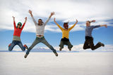 Happy friends jumping outdoor Royalty Free Stock Photography