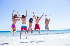 Happy friends jumping together Stock Photos