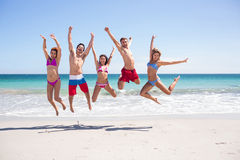 Happy friends jumping together Royalty Free Stock Image