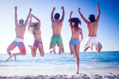 Happy friends jumping together royalty free stock images