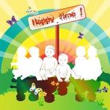 Happy friends kids Stock Image