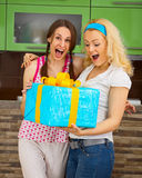Happy friends with a large gift in the hands Stock Photography