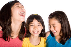 Happy friends laughing Stock Images