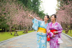 Happy friends looking at view of sakura park Stock Photo