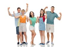 Happy friends making fist pump gesture Royalty Free Stock Photo