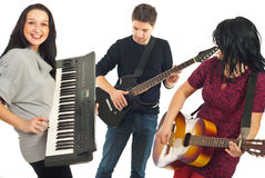 Happy friends with musical instruments Royalty Free Stock Photography