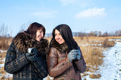Happy friends outdoors at winter Stock Photo