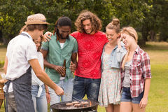 Happy friends in the park having barbecue Stock Image