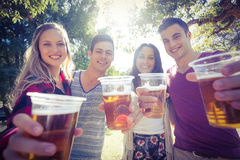Happy friends in the park having beers Royalty Free Stock Photo