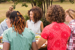 Happy friends in the park having lunch Stock Photo