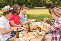 Happy friends in the park having lunch Stock Photos