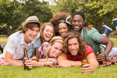 Happy friends in the park having picnic Royalty Free Stock Photos