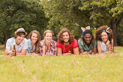 Happy friends in the park having picnic Stock Photos