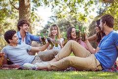 Happy friends in the park having picnic Stock Photo