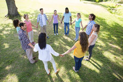 Happy friends in the park holding hands Stock Images