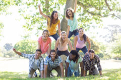 Happy friends in the park making human pyramid. On a sunny day Royalty Free Stock Photo