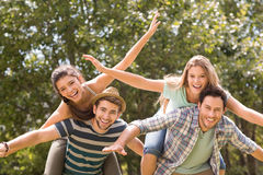 Happy friends in the park Royalty Free Stock Image