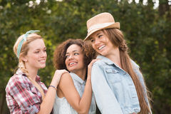 Happy friends in the park Stock Images