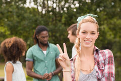 Happy friends in the park Stock Photography