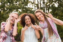 Happy friends in the park Stock Photos