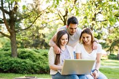 Three best friends in park enjoying and typing on laptop. Happy friends in park using laptop and enjoying the day Stock Photos