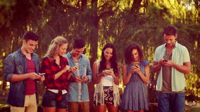 Happy friends in the park using their phones stock video footage