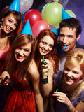 Happy friends on a party Stock Photography