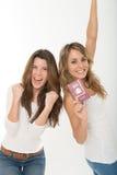 Happy friends and passport Stock Photo