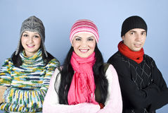 Happy friends people in winter season Stock Images