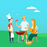 Happy friends on picnic Bbq party Stock Image