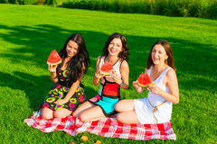 Happy friends on picnic on the lawn. Three  young happy girlfriends picnicking in the park  on green grass  and enjoying  fruit Royalty Free Stock Image