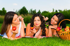 Happy friends on picnic in park. Three  young happy girlfriends picnicking in the park  on green grass  and enjoying  fruit Stock Photo