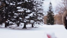 Happy friends playing with snow in winter. People, season, holidays and christmas concept - happy friends playing with snow in winter stock footage