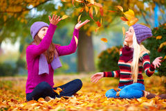 Happy friends playing in vibrant autumn park Stock Images