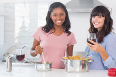 Happy friends preparing dinner together Stock Photos