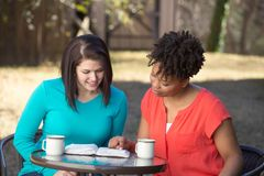 Friends reading, praying and learning together. Happy friends reading, praying and learning together royalty free stock image