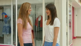Happy friends in the shopping mall. In high quality format stock video