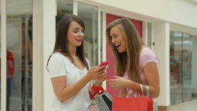 Happy friends in the shopping mall. In high quality format stock footage