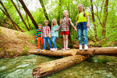Happy friends standing holding hands on log bridge Royalty Free Stock Photos
