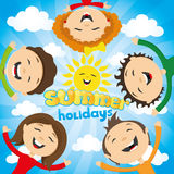 Happy friends and the sun Royalty Free Stock Photos