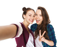 Happy friends taking selfie and showing peace Stock Image