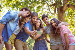 Happy friends taking a selfie Stock Photography