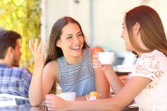 Happy friends talking in a coffee shop terrace. Two happy friends talking and drinking in a coffee shop terrace royalty free stock photography