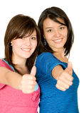 Happy friends with thumbs up Stock Images