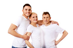 Happy friends together- one woman and two men Royalty Free Stock Photography