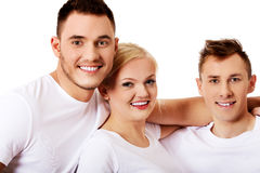 Happy friends together- one woman and two men Royalty Free Stock Photos