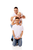 Happy friends together- one woman and two men. Happy friends together- one women and two men Royalty Free Stock Photo