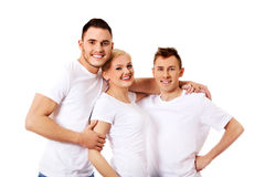 Happy friends together- one woman and two men Stock Photo