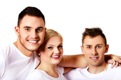 Happy friends together- one woman and two men. Happy friends together- one women and two men Stock Photos